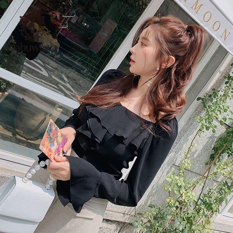 Dabuwawa solide chemise à volants femmes col rond week-end décontracté femme Vintage moderne bureau dame Blouses chemises Flare manches DN1DST014 - 5