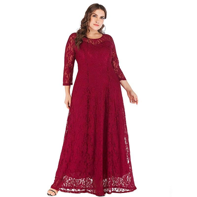 Grande taille XL-6XL Robes en dentelle musulmane robe élégante longue robe en dentelle Robes de soirée pour les femmes Robes de mariée