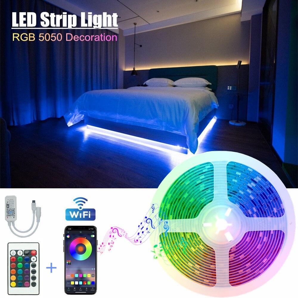 Tiras de luz led wifi iluminação fita 12v 5050 bluetooth modelo controle remoto decoração quarto lâmpada luminosa diodo flexível