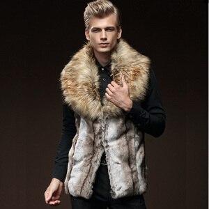 Image 2 - 무료 배송 새로운 패션 남성 남성 모피 겨울 자기 재배 조끼 모조 토끼 모피 머리 대형 머리 칼라 짙어지면서