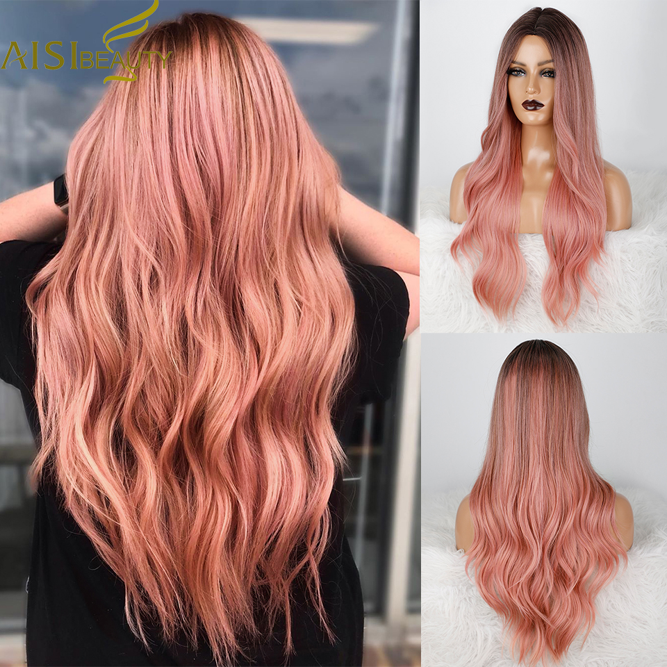 AISI BEAUTY Ombre Pink Synthetic Wigs for Women Long Wavy Women Wig Middle Part Natural Hairline for Daily use/Cosplay