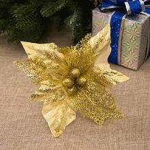 20cm Simulation Christmas Flower DIY Home Wedding Artificial Flowers Tree Decoration Ornaments Party Decor Sep21