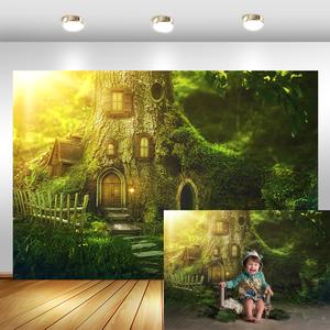 Image 1 - خلفية ساحرة في الغابة لتصوير الأطفال حديثي الولادة ، خلفية منزل شجرة الجنية لعيد الميلاد الأول ، استوديو الصور