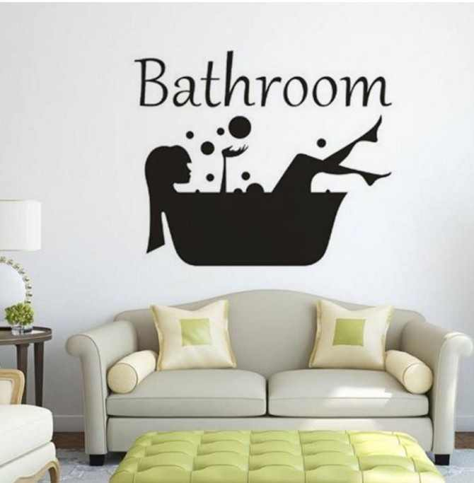 3Pcs Bathroom Wall Stickers Waterproof Shower Room Wall Decals Art Mural