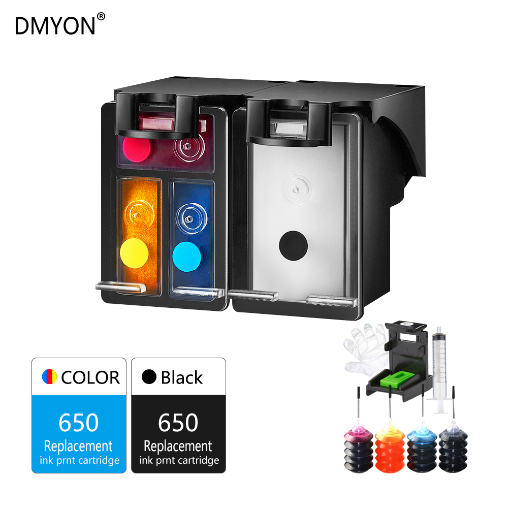 DMYON 650XL Refillable Ink Cartridge Replacement for HP 650 XL Use for HP Deskjet 1015 1515