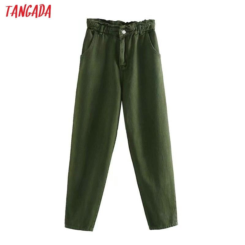 Tangada Women Amygreen Denim Harm Pants Strethy Waist Fashion Female Loose Casual Vintage Jean Femme 4M136