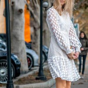 Image 3 - Conmoto エレガントホワイトパーティードレス女性秋冬ショートヴィンテージポルカドットプリントレースプラスサイズドレス女性 vestidos