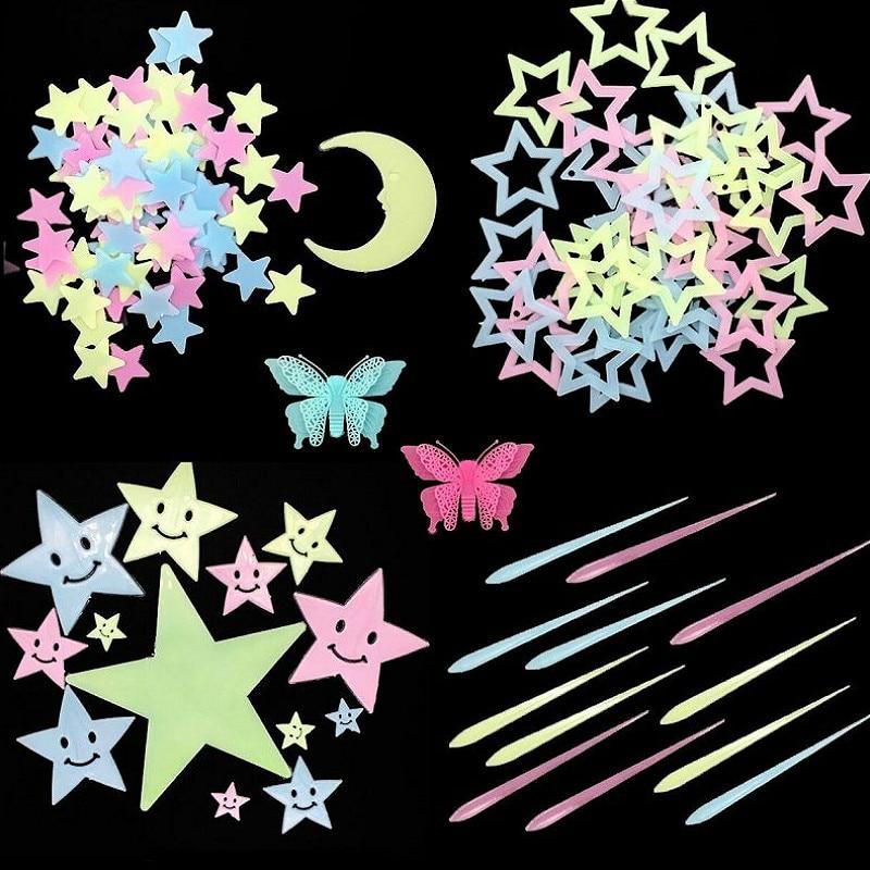 1 пакет светящиеся в темноте игрушки 3 см светящиеся звезды наклейки спальня диван флуоресцентная живопись игрушки пвх наклейки для детей