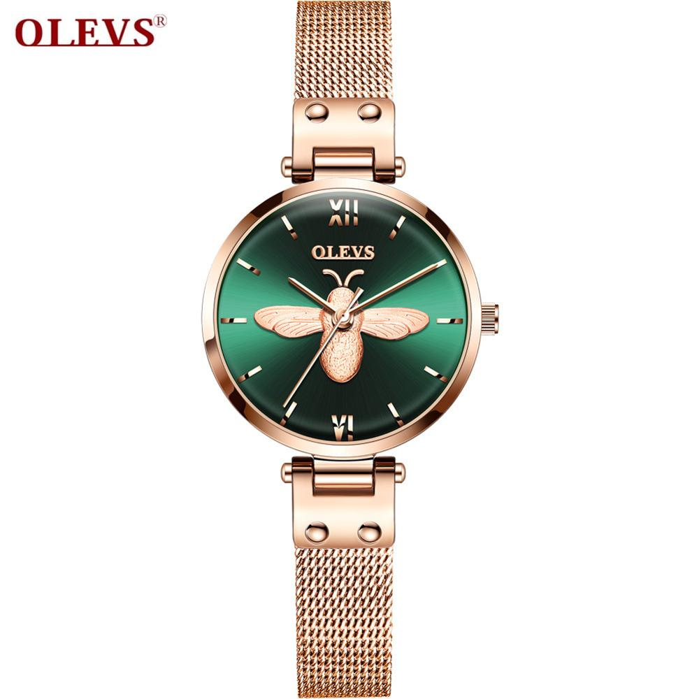 OLEVS Simple Fashion Trend Ins Little Bee Lady Watch Luxury Waterproof Appointment Business Light For Women Girlfriend Watch