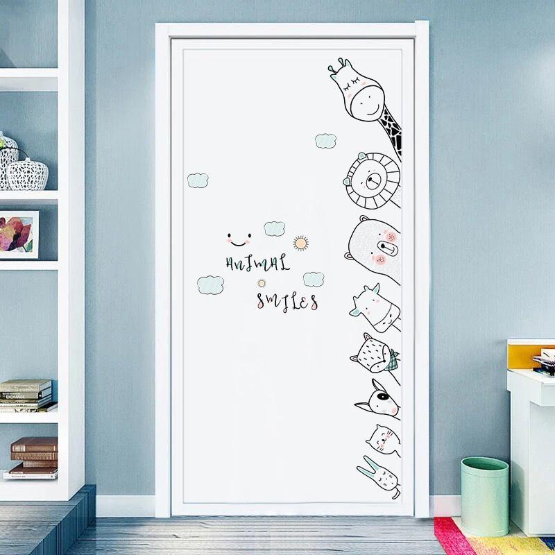 Cute Cartoon Animals Wall Stickers Door Stickers For Kids Room Bedroom Hand Drawn Wall Decals Baby Nursery Room Decoration