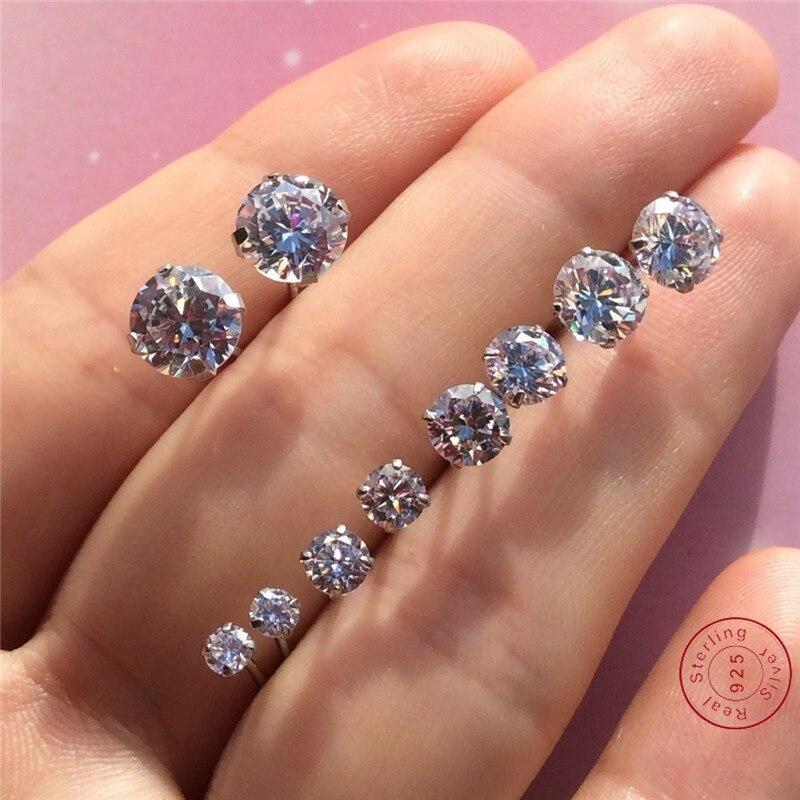 100% 925 Sterling Silver Earring Classic Fashion 3mm 4mm 5mm 6mm Four Claws Diamond Stud Earrings For Women Men Gift Oorbellen