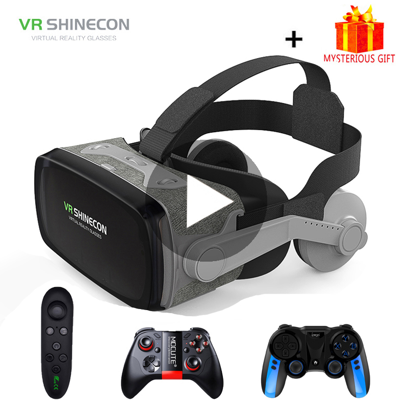 VR Shinecon G07E Viar Casque Headset Virtual Reality Glasses 3D Helmet Goggles 3 D For iPhone Android Phone Smartphone Lense Set