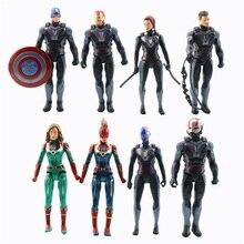 8pcs/lot Hero Avenger Action Figures with Light Toy Thanos Iron Man Thor Captain America Carol Ant-Man Nebula Model Boy Toys 17cm height polyresin iron man with luminous base boy s gift