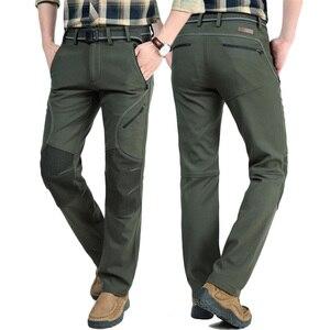 Image 5 - Мужские зимние теплые повседневные брюки, мужские черные толстые флисовые брюки, мужские мягкие брюки, мужские армейские военные водонепроницаемые брюки AM093