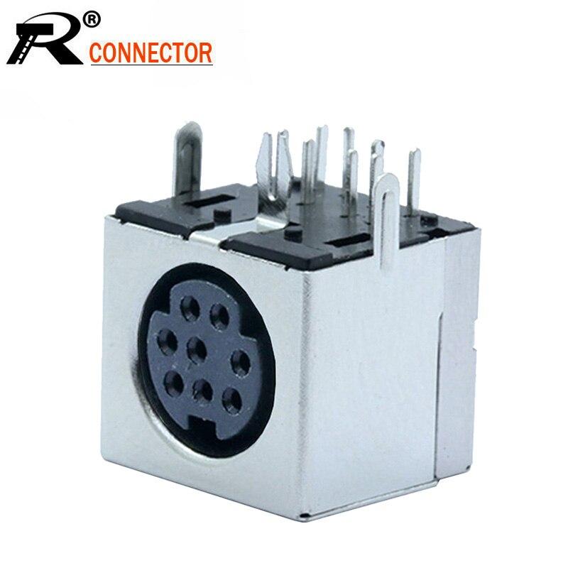 10pcs S-video 8 Pin Mini Din Female Socket Connector 8P DIN Mini Jack Right Angle PCB Panel Mount PS2 Mini Circular DIN Terminal