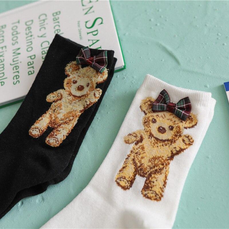 Japanese Bow Socks Cute Bear Girl Socks Black And White Student Cotton Socks Wholesale