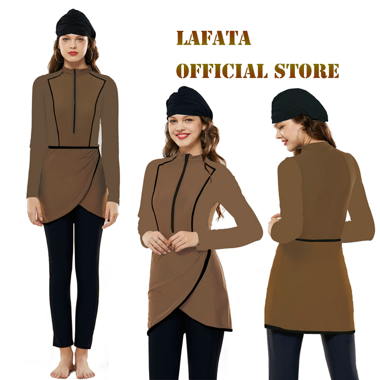 2020 LaFata New Design Brown Color Modest Muslim Swimwear Islamic Swimming Suit Burkini Women Swimsuit With Hijab
