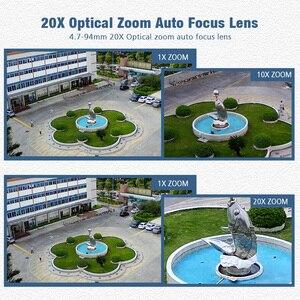 Image 3 - 1080P bezprzewodowy PTZ kamera IP kopułkowa zewnętrzna WIFI 20X zoom optyczny bezpieczeństwa CCTV kamera wideo głośnik audio 80m IR IP PTZ kamery CamHi