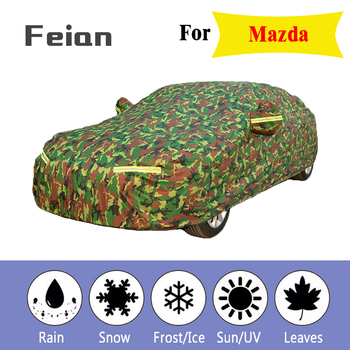 Waterproof camouflage car covers sun protection cover for car reflector dust rain snow protective suv sedan full for Mazda