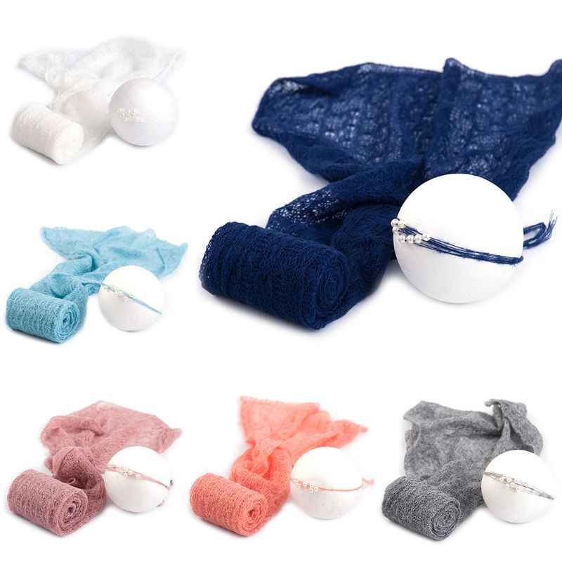 2 Pcs/set Baby Photography Props Blanket Wraps Stretch Knit Wrap Photo Newborn Cloth Accessories Headdress