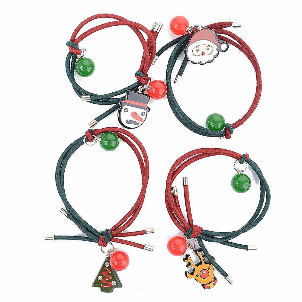 2019 популярная Рождественская веревка для волос, колокольчик Санты, снеговик, Детская эластичная лента для волос, милые аксессуары для волос, модная Горячая Распродажа