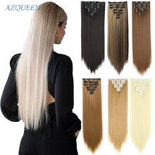 Длинные прямые синтетические волосы, 16 клипс, зажимы для наращивания волос в Температура волокна чёрный; коричневый парик, заколки, заколки ...
