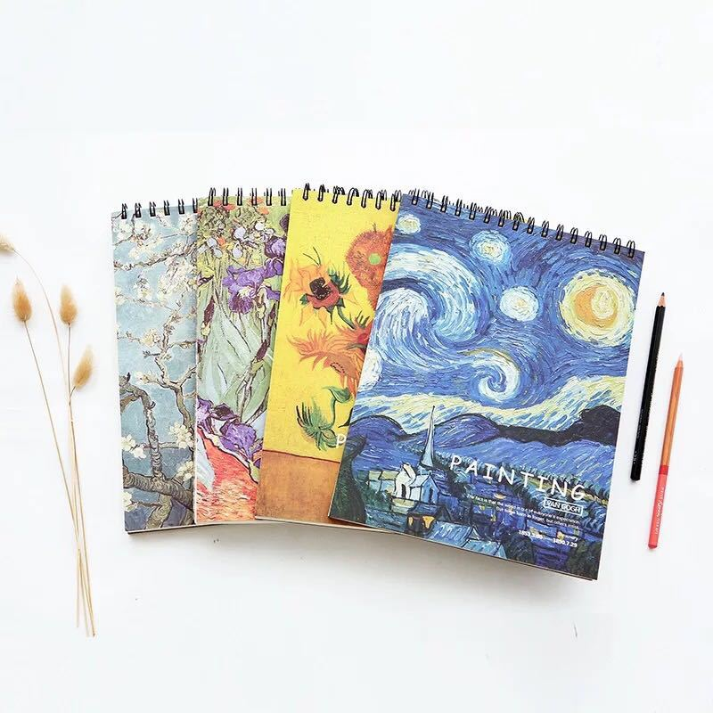 Vintage Van Gogh A4 Sketch Book 16K Sketchbook Drawing Papers Art Painting Template Notebook School Stationery Supply Gift