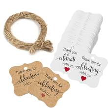 100PCS White Brown Thank You for Celebrating with us Gift Tag DIY Wedding Party Handmade Holiday Decoration Bottle Label Jute