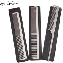 3 Style Metal Hair Comb Detangling Hairstyling Straightening Section Comb Barber Haircutting Combs With Leather Case DIY Home