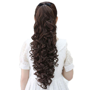 Xnaira Synthetic Hair Extension Clip In Hair Extension Natural Blonde Black Ponytail Hairpiece Long Curly Drawstring Ponytail 45cm long curly sweet lolita ponytail extension hairpiece wig dark brown