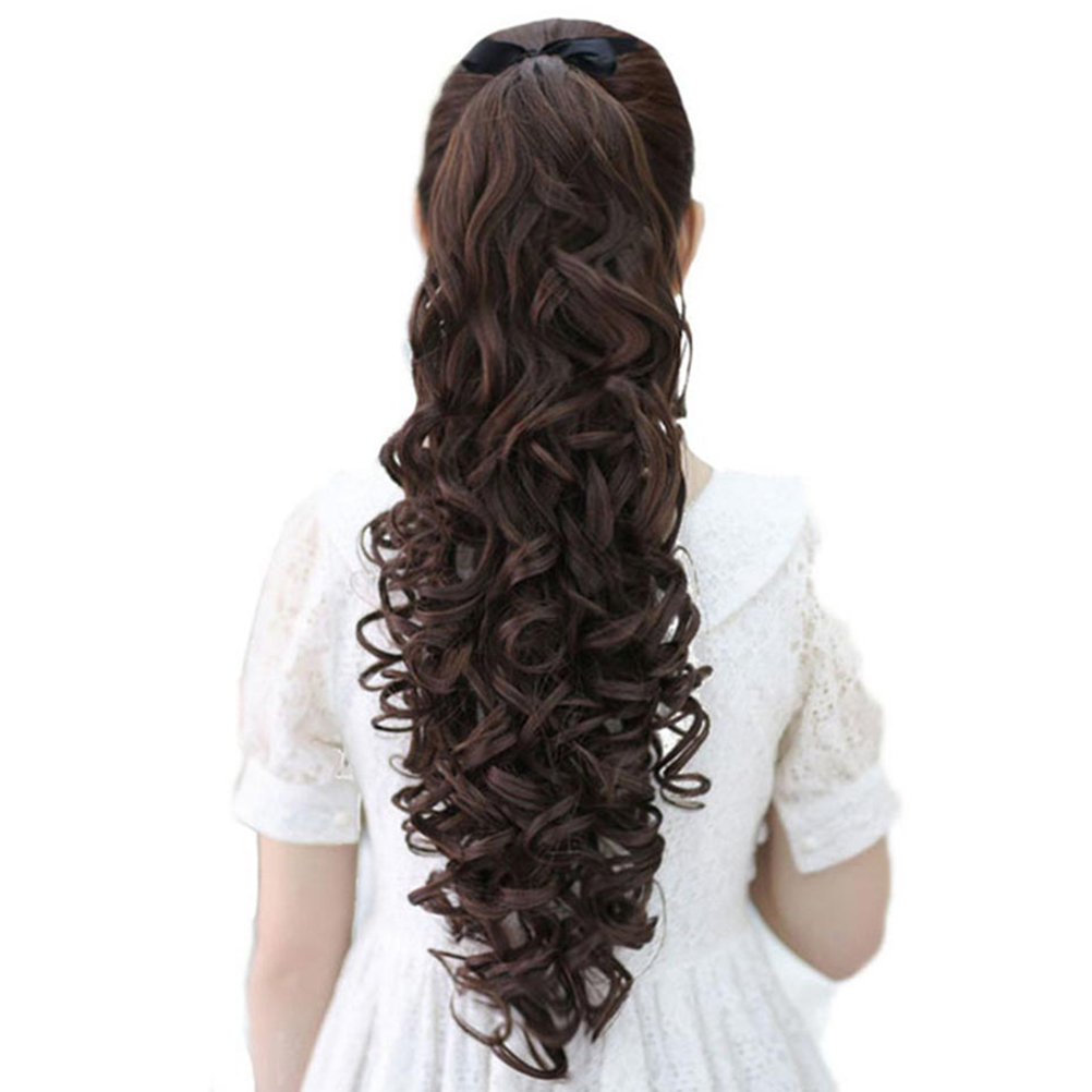 Xnaira Synthetic Hair Extension Clip In Hair Extension Natural Blonde Black Ponytail Hairpiece Long Curly Drawstring Ponytail