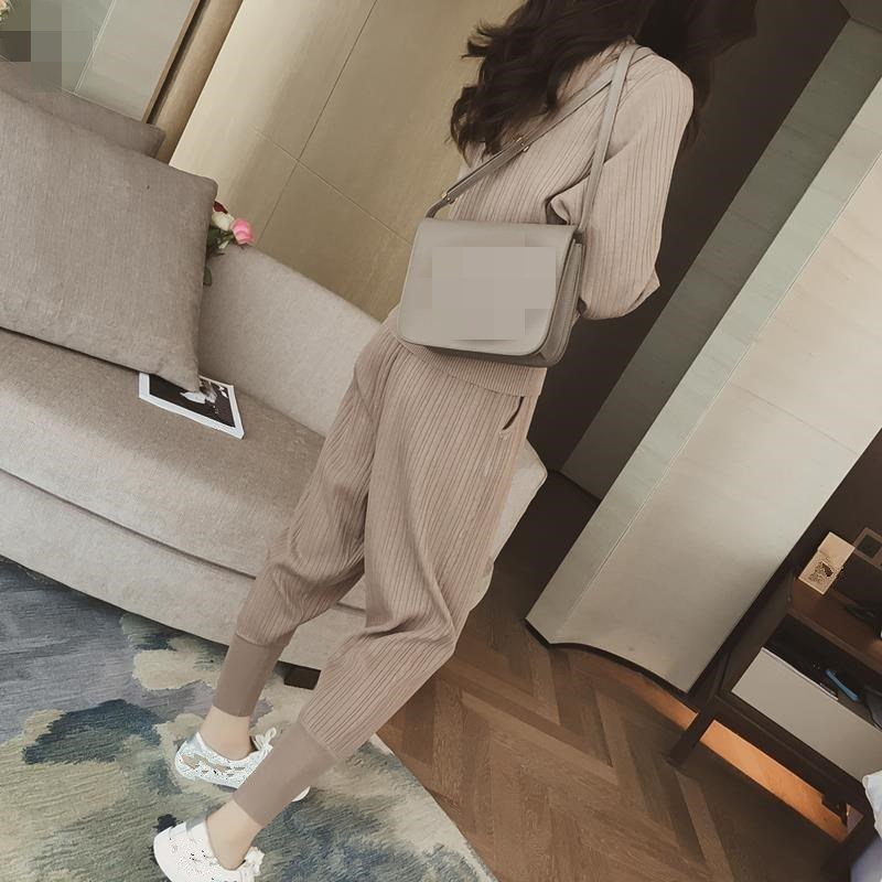 Knitted Casual Tracksuit Pant Suits 2018 Fashion 2 Piece Set Women Sweater And Trousers Set Pants Set 63