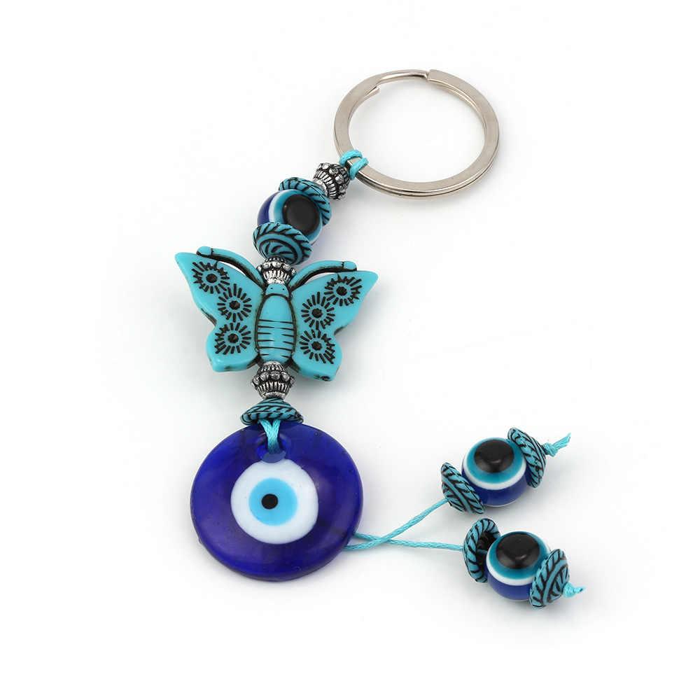 2019 Nova Moda azul evil eye encantos Chaveiro elefante pingente de Presentes da jóia da forma do Anel Chave do carro Chaveiro liga borla