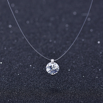 Transparent Fishing Line Necklace Women Chocker Heart Invisible Chain Crystal Rhinestone Choker Necklace Pendant on Line Neck