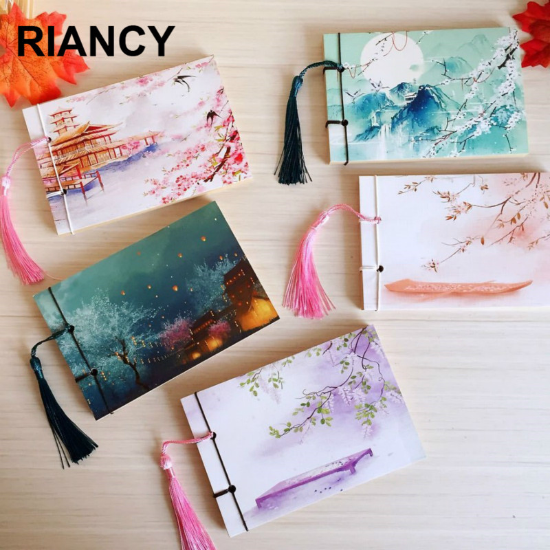 Chinese Style Bullet Notebook Journal Weekly Planner Stationery Store School Tassel Retro Handmade Sketchbooks Notepad 016007