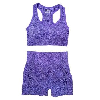 Seamless Women Vital Yoga Set Workout Shirts Sport Pants Bra Gym Clothing Short Crop Top High Waist Running Leggings Sports Set 14