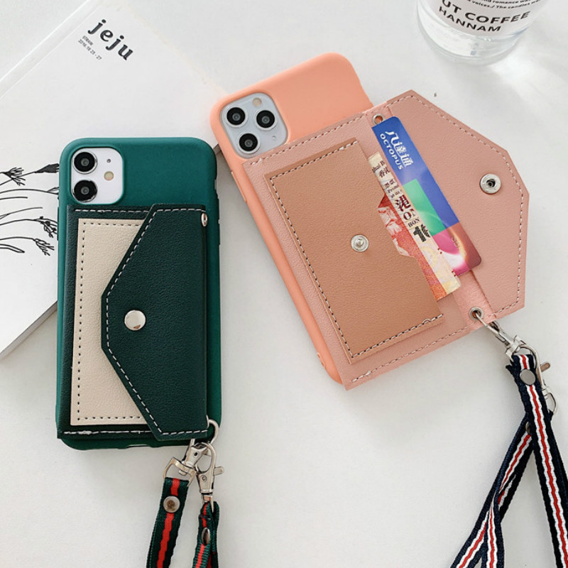 Wallet Card Flip silicone Cases For Samsung S20 Ultra S8 S9 S10 Plus Lanyard Green Orang color soft tpuCover For Samsung A51 A71
