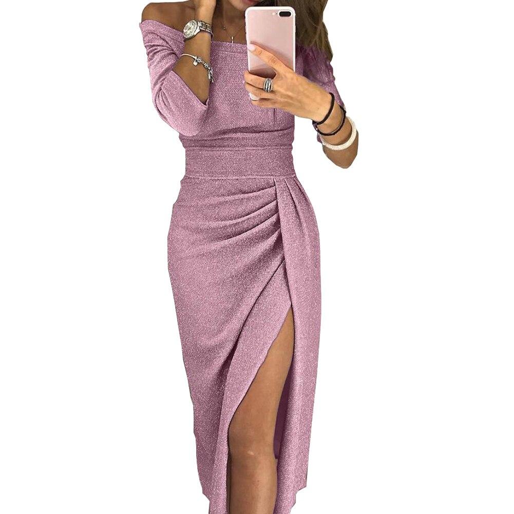 H6c082b7ade6f44d9bf7250a4de8e54143 New Evening Party Sexy Women Off Shoulder High Split 3/4 Sleeve Bodycon Maxi Dress