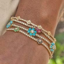 2021 Spring New Arrived Fashion Jewelry 3mm Prong Set  CZ Tennis Chain Rainbow Daisy Flower Charm Colorful Bracelet
