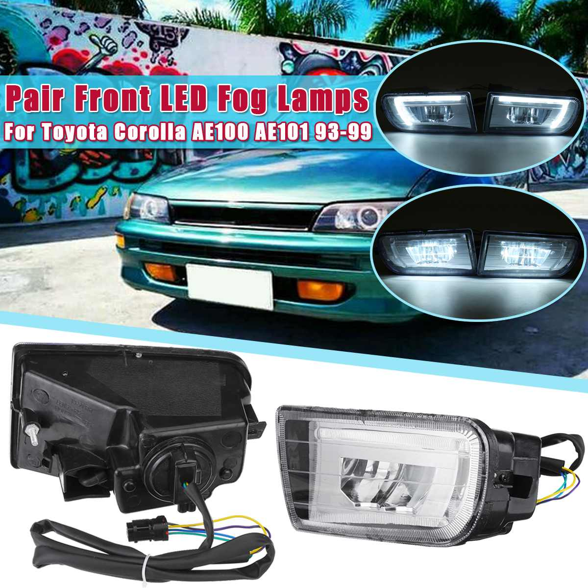 Pair Fog Lamp Assembly Super Bright Fog Light For <font><b>toyota</b></font> <font><b>Corolla</b></font> AE100 <font><b>AE101</b></font> 1993 1994 1995 1996 1997 1998 1999 Led Fog Lights image