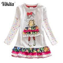 VIKITA Girls Dress Autumn Spring Girl Princess Casual Dresses Children Cotton Dress for Girls Long Sleeve Children Clothes