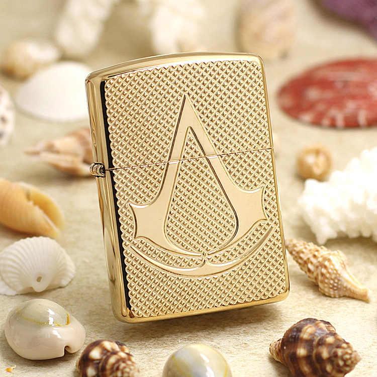 Genuine Zippo Oil Lighter Copper Golden Assassin Creed Cigarette