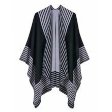 monochrome scarf autumn and winter new style thicker warmer cashmere-like triangle needle fashion shawl Cloak