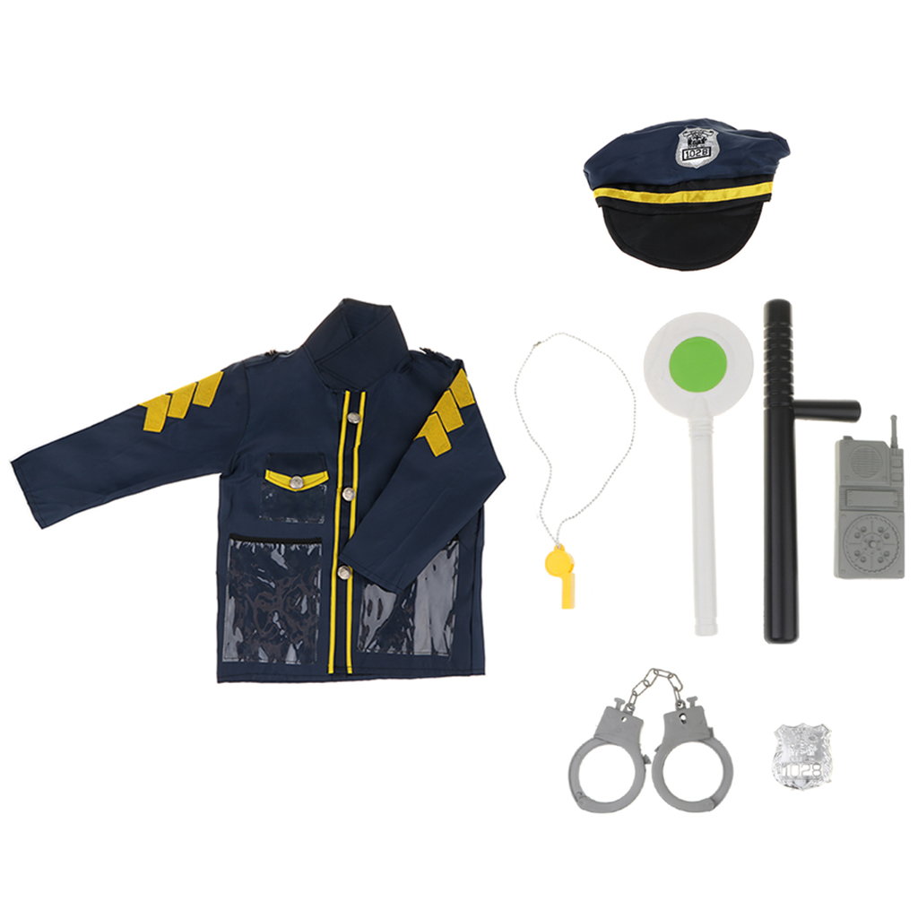 9Pcs Police Officer Occupations Toy Set, Megaphone Siren Sounds Uniform Hat Handcuff Props Toys Kit For Policeman Role Play