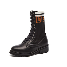 цены Winter Women Leather Mid-Calf Boots Casual Long Lace Up Low Square Heel Motorcycle Boots Women Elastic Wool Boots Black XU087