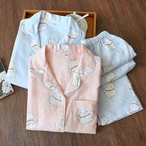 Image 4 - Fresh maple leaf pajama sets women 100% gauze cotton Japanese summer long sleeve casual sleepwear women simple pyjamas