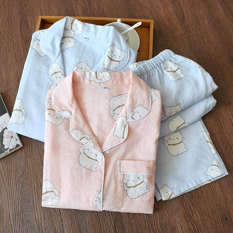 Image 4 - Korea Fresh maple leaf pajama sets women 100% gauze cotton long sleeve casual sleepwear women pyjamas summer hot sale 2020pijamas para mujerwomens pajamas setwomen pyjama -