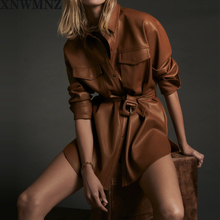 XNWMNZ za Women 2020 Fashion With Belt Faux Leather Loose Jacket Coat Vintage Long Sleeve Pockets Female Outerwear Chic Tops