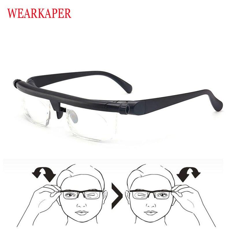 Newest Vision Focus Adjustable TR90 Reading Glasses Myopia Eye Glasses -6D To +3D Variable Lens Correction Binocular Magnifying