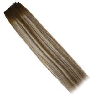 Image 2 - VeSunny One Piece Invisible doczepiane włosy prawdziwe ludzkie włosy odwróć drut z klipsami na Balayage kolor #6/60/6 Brown mix Blonde